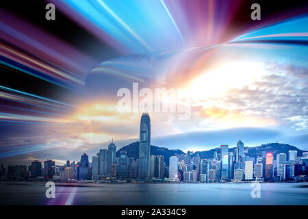 Light trails background with Hong Kong City scraper. double exposure - Stock Photo