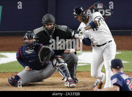 Bronx, USA. 04th Oct, 2019. New York Yankees Gleyber Torres drives in 2 runs with a double in the 5th inning against the Minnesota Twins in game 1 of the American League Division Series at Yankee Stadium on Friday, October 4, 2019 in New York City. Photo by John Angelillo/UPI Credit: UPI/Alamy Live News - Stock Photo
