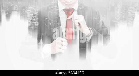 Double exposure, Business leader holding red necktie - Stock Photo
