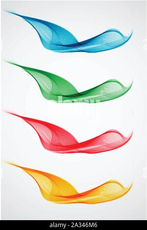 Set of abstract color wave - Stock Photo
