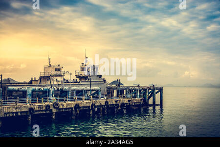 Scenery at seaport during sunset in Koh Samui, Thailand - Stock Photo