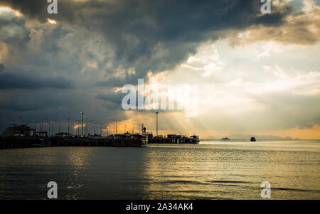Scenery at seaport with cloudy sky in Koh Samui, Thailand - Stock Photo