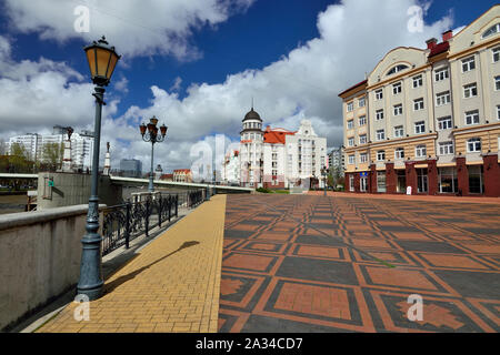 Kaliningrad, Russia - 22 April 2017: View of the Fishing village - cultural and ethnographic complex,  tourist attraction of the city. Kaliningrad Cit - Stock Photo