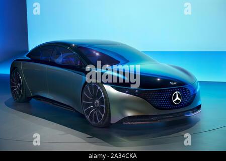 FRANKFURT, GERMANY - SEP 19, 2019: Mercedes Benz Vision EQS luxury electric concept car reveiled at the Frankfurt IAA Motor Show 2019. - Stock Photo