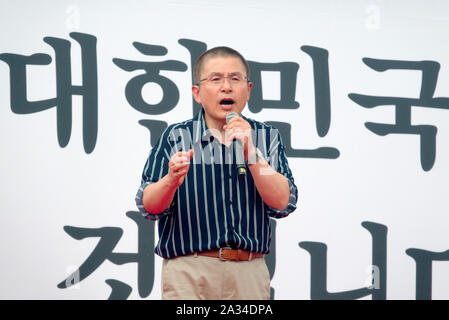 Conservatives' rally, October 3, 2019 : South Korea's main opposition Liberty Korea Party (LKP) chairman Hwang Kyo-Ahn speaks during a rally organized by LKP, the Our Republican Party and the Christian Council of Korea (CCK) in Seoul, South Korea. Hundreds of thousands of South Korean conservatives staged a rally to demand President Moon Jae-In to sack Justice Minister Cho Kuk. Prosecutors have been investigating into allegations against Cho's family which were mostly raised by opposition parties and some news outlets. Credit: Lee Jae-Won/AFLO/Alamy Live News - Stock Photo