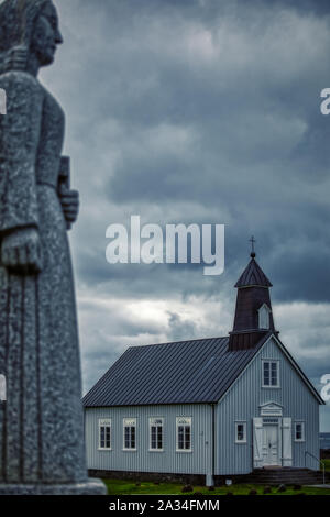 beautiful typical old wooden church somewhere on iceland, religion - Stock Photo
