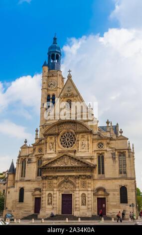 Great portrait front view of the Saint-Étienne-du-Mont church, located on the Montagne Sainte-Geneviève in the 5th arrondissement in Paris, France on... - Stock Photo