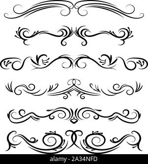 Hand drawn vector dividers. Decorative swirls lines, borders and curl set. Calligraphic Design elements. - Stock Photo