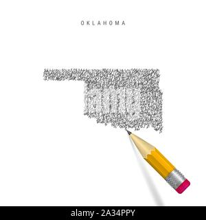 Oklahoma sketch scribble map isolated on white background. Hand drawn vector map of Oklahoma. Realistic 3D pencil with rubber. - Stock Photo