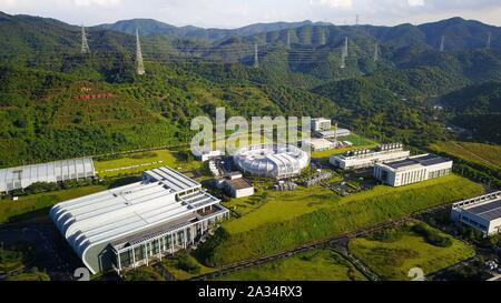 (191005) -- GUANGZHOU, Oct. 5, 2019 (Xinhua) -- Aerial photo taken on July 24, 2019 shows the China Spallation Neutron Source (CSNS) in Dongguan, south China's Guangdong Province. (Xinhua/Liu Dawei)
