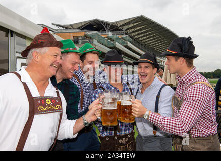 Ascot, Berkshire, UK. 5th Oct, 2019. Ascot, Berkshire, UK. 5th October, 2019. Ben Cook from London (third left) enjoys his stag do before the racing starts. Credit: Maureen McLean/Alamy Live News Credit: Maureen McLean/Alamy Live News - Stock Photo