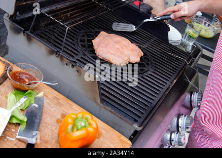 Beef Belly steak on the Grill - Stock Photo