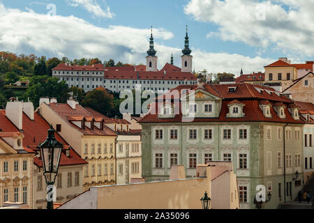 Autumn afternoon in Mala Strana, Prague, Czechia. - Stock Photo