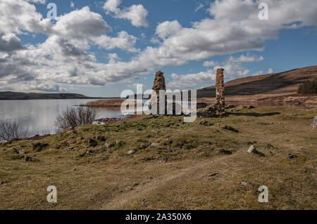 Finlaggan, seat of the Lord of the Isles and Clan Donald, Isle of Islay, Inner Hebrides, Scotland - Stock Photo