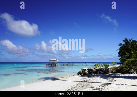 View of a dock from a sandy beach with palm trees leading into a blue lagoon on a tropical island