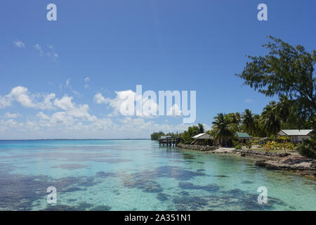 Houses and palm trees line the coast of a tropical lagoon on the island of Fakarava in French Polynesia