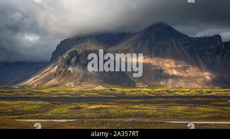 Vestrahorn mountain on Stokksnes cape in Iceland - Stock Photo