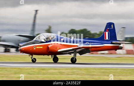 Jet Provost T.3 XN637 arriving at RAF Fairford for the 2019 Royal International Air Tattoo - Stock Photo