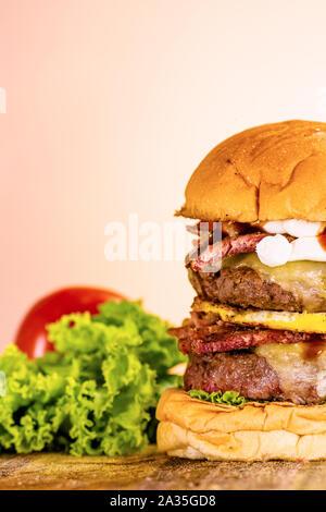 Delicious handmade hamburgers. Authentic images. - Stock Photo