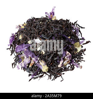 Tea mix of mallow petals, almond, chocolate flavor close-up, isolated on white. - Stock Photo