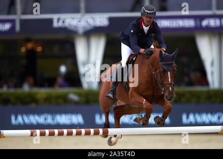 Barcelona, Spain. 05th Oct 2019. Nicolas Belmonte of France competes in the Segura Viudas Queen Cup horseback riding event at the Royal Club of Polo in Barcelona, Spain, 05 October 2019. EFE/ Alejandro Garcia Credit: EFE News Agency/Alamy Live News - Stock Photo