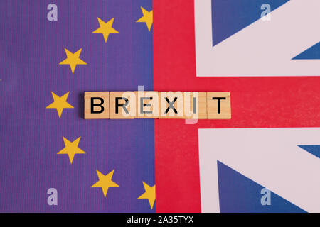 Concept of UK is on course to leave the EU, UK Brexit, European Union relations showing with flags. - Stock Photo