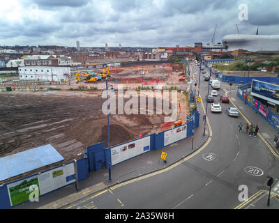 October 5th, 2019. Work continues on the HS2 building site in Park Street, Birmingham. This area was previously a burial site but the human remains were exhumed in the summer of 2019. Selfridges store can be seen in the top-right, close to Moor Street station. Once the new HS2 Curzon Street station is built on this site, three stations will serve the city centre as New Street station is also within walking distance of this part of Birmingham known as Eastside. - Stock Photo
