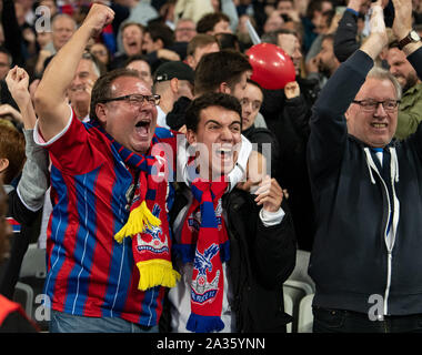 London, UK. 05th Oct, 2019. Crystal palace fans after the Premier League match between West Ham United and Crystal Palace at the Olympic Park, London, England on 5 October 2019. Photo by Andrew Aleksiejczuk/PRiME Media Images. Credit: PRiME Media Images/Alamy Live News - Stock Photo