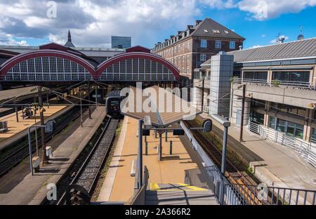 Copenhagen, Denmark - May 04, 2019: Platforms of Copenhagen Central Station. It is the main railway station in Copenhagen, Denmark - Stock Photo