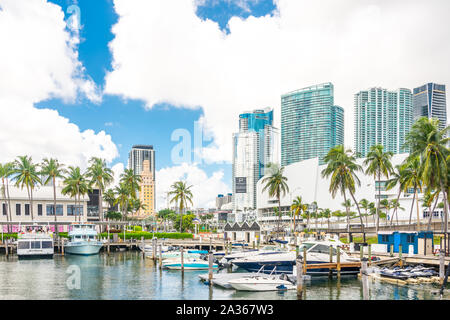 Miami, USA - September 11, 2019: View of the Marina in Miami Bayside with modern buildings and skyline in background - Stock Photo
