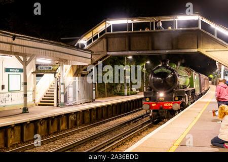 Green British Steam Train Surrey Autumn - Stock Photo