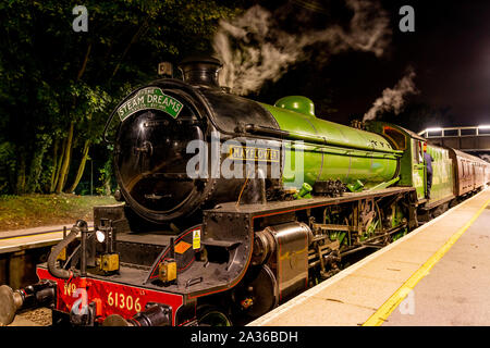 Green British Steam Train Surrey Autumn - Stock Photo
