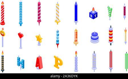Birthday candle icons set, isometric style - Stock Photo