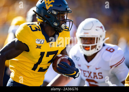 West Virginia Mountaineers wide receiver Sam James (13) during the NCAA college football game between the Texas Longhorns and the West Virginia Mountaineers on Saturday October 5, 2019 at Milan Puskar Stadium in Morgantown, West Virginia. Jacob Kupferman/CSM - Stock Photo