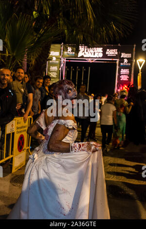 Sitges, Spain. 05th Oct, 2019. Sitges Zombie Walk 2019 within the 52 Sitges- international fantastic film festival of Catalonia.Every year, on the first Saturday of the Sitges film festival, the 'Sitges Zombie Walk' is held. (Photo by Francisco José Pelay/Pacific Press) Credit: Pacific Press Agency/Alamy Live News - Stock Photo