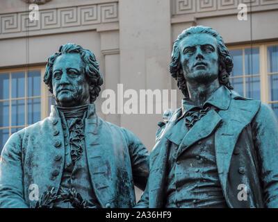 Goethe Schiller Monument in Weimar - Stock Photo