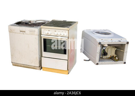 Old electrical appliances isolated - Stock Photo