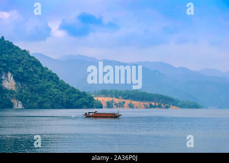 Beautiful landscape of lake in a countryside Vietnam. Royalty high quality stock image of nature landscape. - Stock Photo