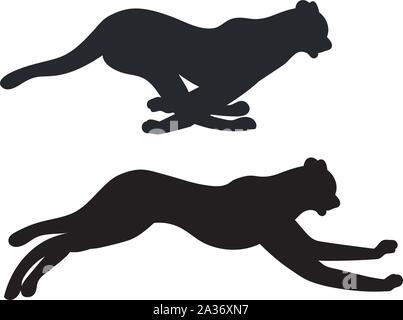 Stylized cheetah silhouette in running pose design illustration. - Stock Photo