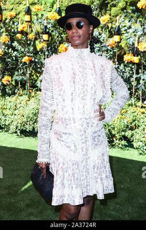 Pacific Palisades, United States. 05th Oct, 2019. PACIFIC PALISADES, LOS ANGELES, CALIFORNIA, USA - OCTOBER 05: Santigold arrives at the 10th Annual Veuve Clicquot Polo Classic Los Angeles held at Will Rogers State Historic Park on October 5, 2019 in Pacific Palisades, Los Angeles, California, United States. (Photo by Xavier Collin/Image Press Agency) Credit: Image Press Agency/Alamy Live News - Stock Photo