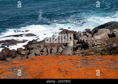Kangaroo Island Australia, view from the Remarkable Rocks over lichen covered boulders to coast - Stock Photo