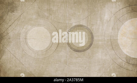 Background texture of aged paper with circles, close-up - Stock Photo