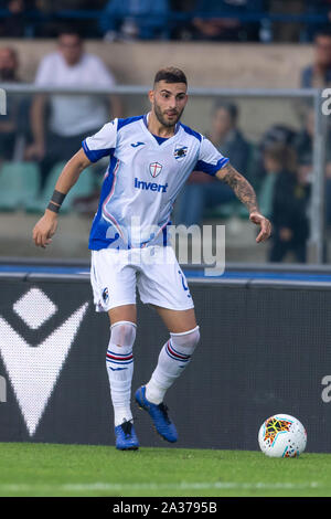 Nicola Murru (Sampdoria)                                     during the Italian 'Serie A' match between Hellas Verona 2-0 Sampdoria at Marcantonio Bentegodi Stadium on October 05 , 2019 in Verona, Italy. (Photo by Maurizio Borsari/AFLO) - Stock Photo