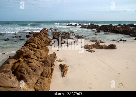 Kangaroo Island Australia, waves breaking  over rock outcrop with the Southern Ocean in the background - Stock Photo