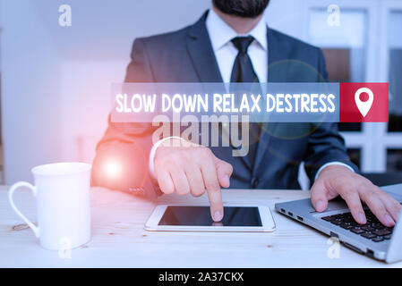 Writing note showing Slow Down Relax Destress. Business concept for calming bring happiness and put you in good mood - Stock Photo