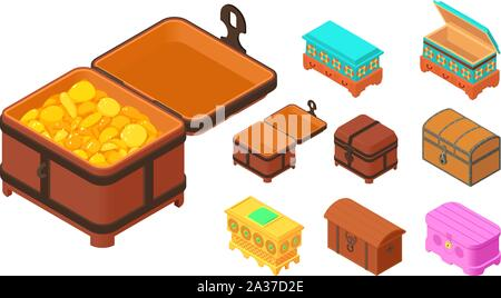 Dower chest icons set. Isometric set of dower chest vector icons for web design isolated on white background - Stock Photo
