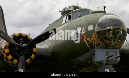 B-17 Flying Fortress G-BEDF Sally B on the flightline at the 2019 Flying Legends airshow - Stock Photo