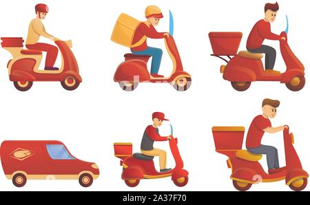 Food delivery service icons set. Cartoon set of food delivery service vector icons for web design - Stock Photo