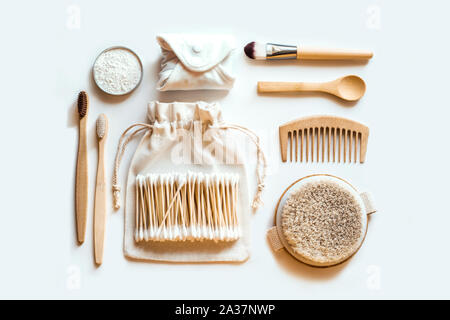 Set of eco natural bathroom accessories on white background. Zero waste concept. Plastic free. Flat lay style. - Stock Photo