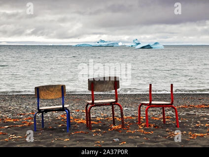 Seats with a view at Qeqertarsuaq #2 - Stock Photo